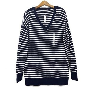 GAP Blue & White Striped Knit V Neck Sweater